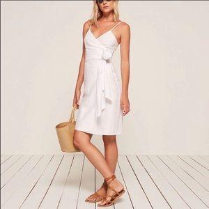 NWOT Reformation Lucille White Linen Wrap Dress